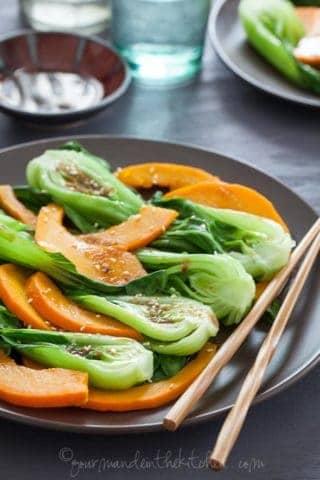 Pumpkin and Baby Bok Choy with Ginger Sesame Sauce (Vegan, Paleo)