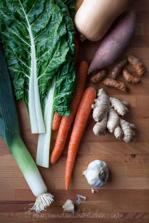 swiss chard, carrots, ginger, fresh turmeric root, garlic, sweet potatoes