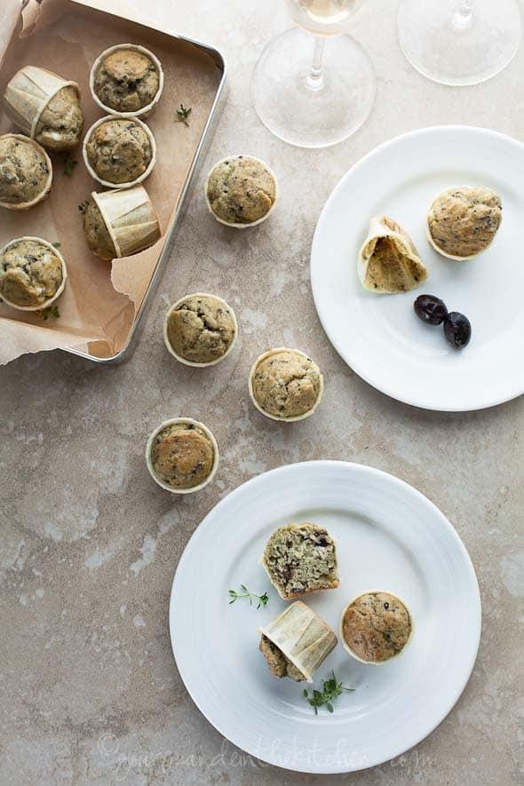 olive thyme feta muffins, savory mini muffins