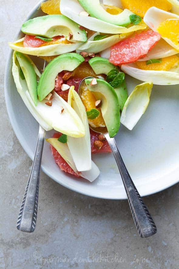 citrus salad, avocado salad, endive salad
