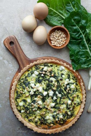 French Chard Tart (Gluten-Free, Grain-Free, Vegetarian, Paleo Option)