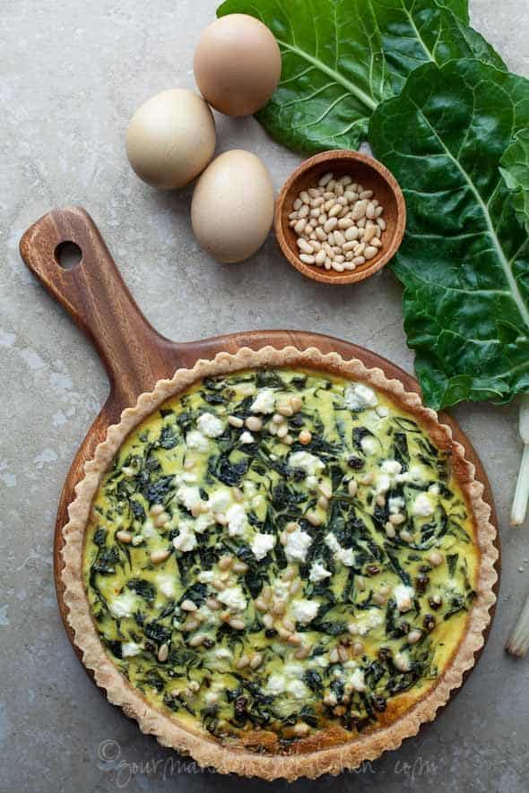 French Chard Tart on Wood Board