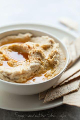 Parsnip Hummus Dip with Fiery Chili Oil (Vegan, Paleo)