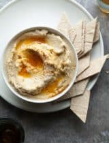 Parsnip Hummus Dip with Fiery Chili Oil (Vegan, Paleo)