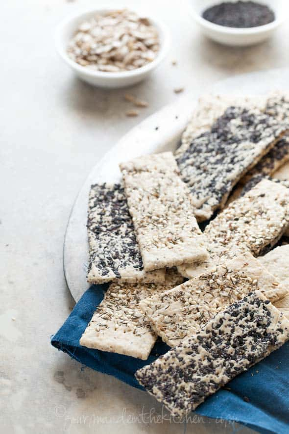 Homemade Gluten-Free Seed Crackers on Plate