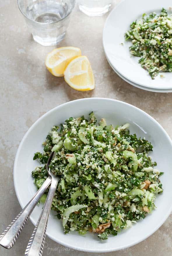 cauliflower tabouli, cauliflower tabbouleh recipe, paleo tabbouleh