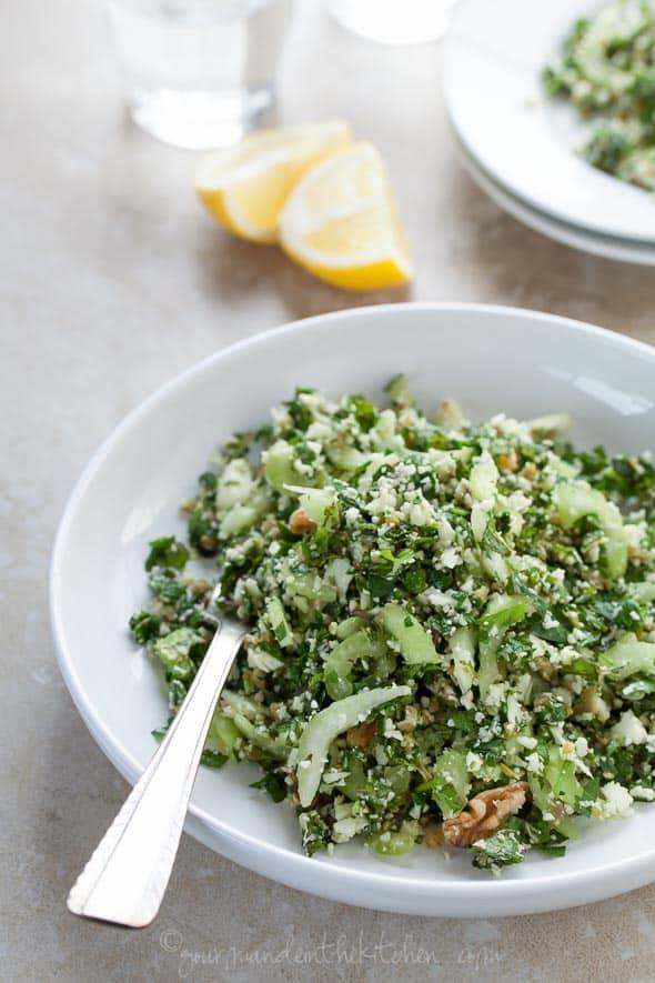 cauliflower tabouli, raw cauliflower salad, paleo tabouli