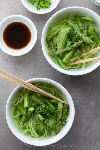 Cucumber Noodles with Asparagus and Ginger Scallion Sesame Sauce (Gluten-Free, Grain-Free, Vegan, Paleo)