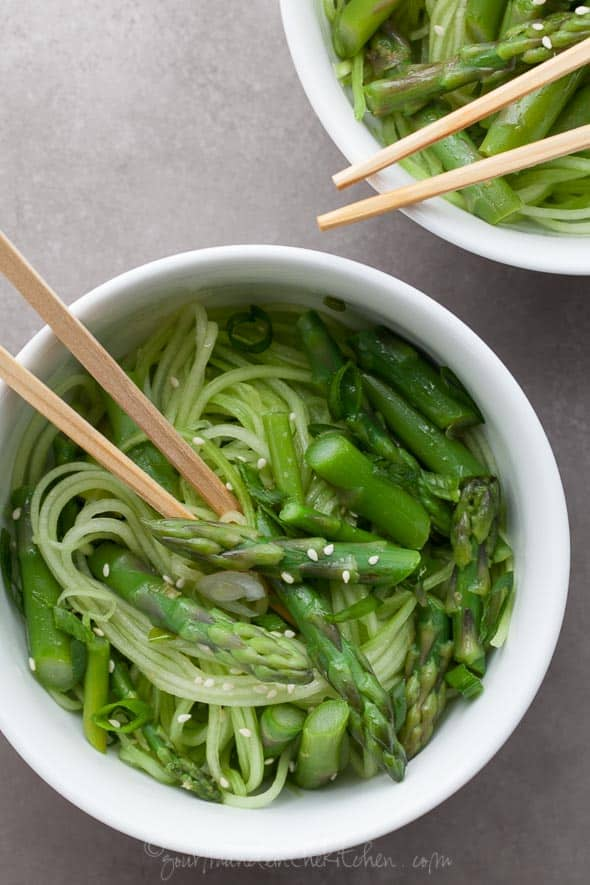 gluten-free cucumber noodles with asparagus and ginger scallion sauce