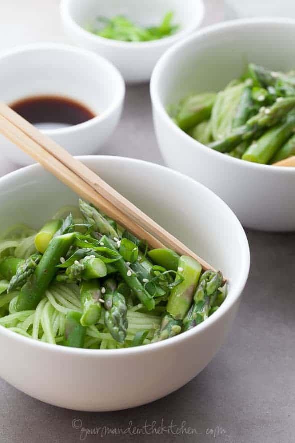 Cucumber Noodles with Asparagus and Ginger Scallion Sesame Sauce on gourmandeinthekitchen.com  Cucumber Noodles with Asparagus and Ginger Scallion Sesame Sauce (Gluten Free, Grain Free, Vegan, Paleo)
