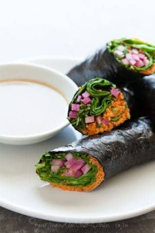 Vegetable Nori Wraps with Sunflower Butter Dipping Sauce (Raw, Vegan, Grain-Free, Paleo)