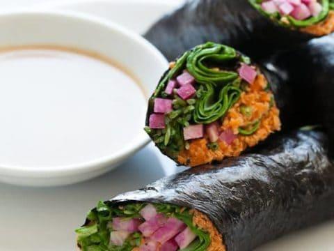 raw vegetable rolls, vegetable wraps, paleo sushi