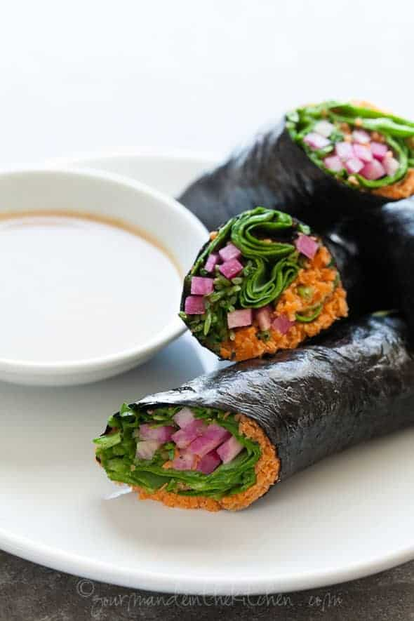 raw vegetable rolls, vegetable wraps, paleo sushi