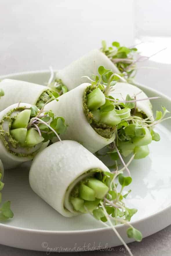 raw daikon rolls with pesto