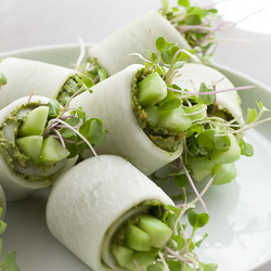 Daikon Rolls with Cilantro Pumpkin Seed Pesto