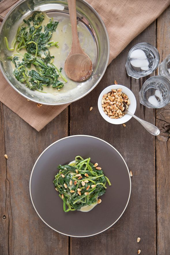 dijon spinach with toasted pine nuts from the slim palate paleo cooknbook