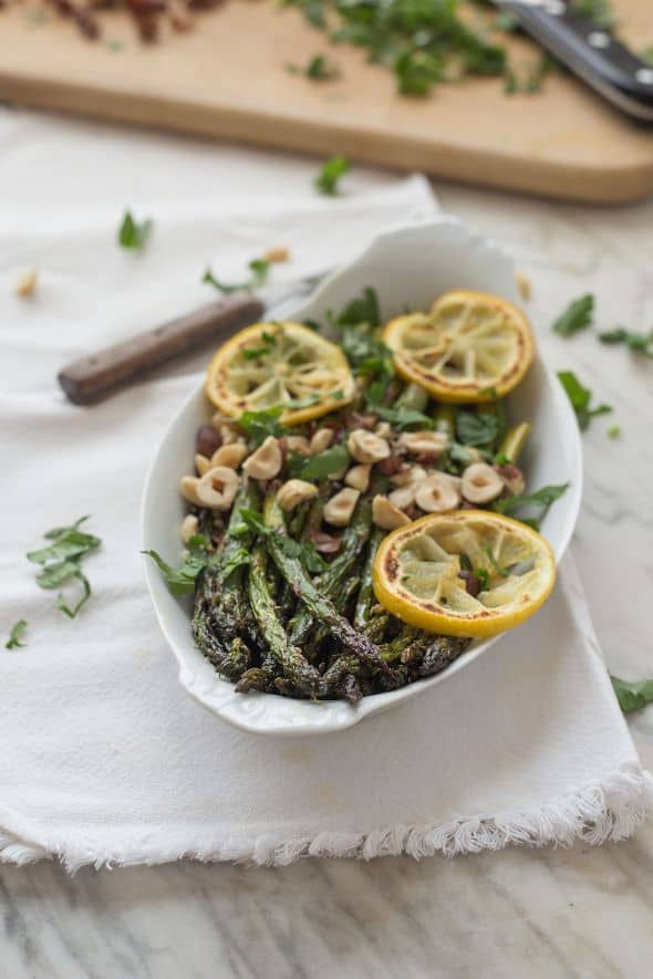 Roasted Asparagus with Lemon and Toasted Hazelnuts from the Slim Palate Paleo Cookbook