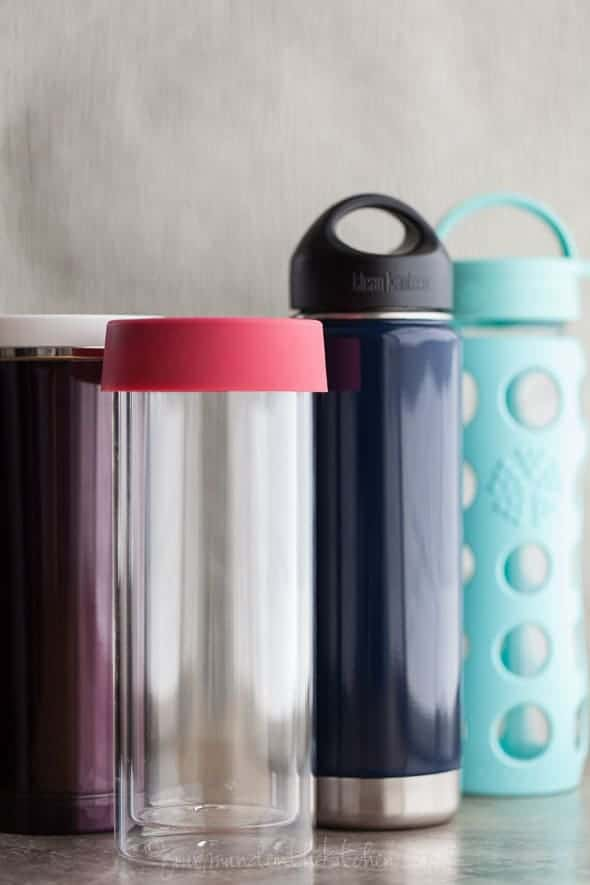 stainless steel thermos, glass water bottles