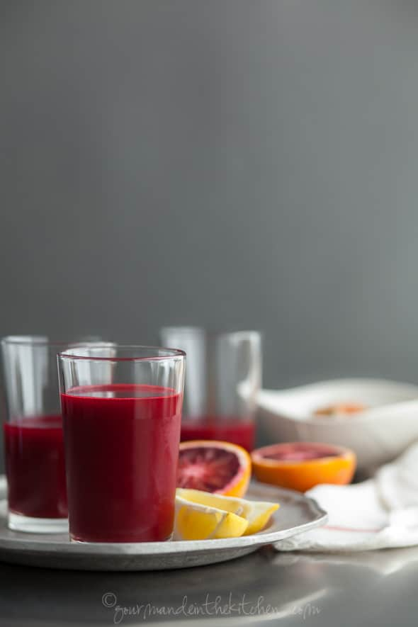 Carrot, Beet, Blood Orange, Ginger, Turmeric Juice, root vegetable juice