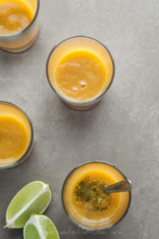Chilled Tomato Peach Soup with Pistachio Basil Pistou