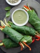Collard Vegetable Wraps with Creamy Basil Hemp Seed Sauce