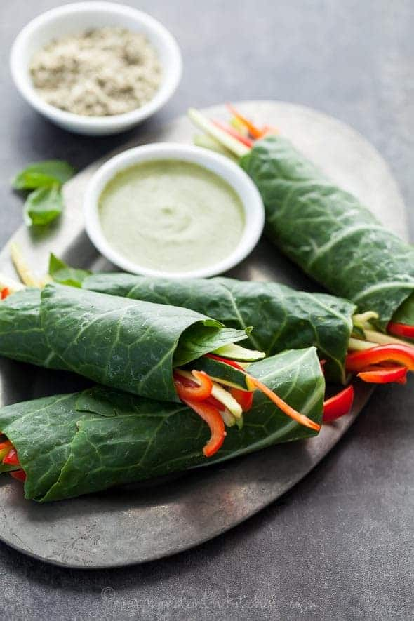collard wraps, vegetable wraps, basil cream sauce, vegan wraps, raw wraps, raw vegan collard wraps