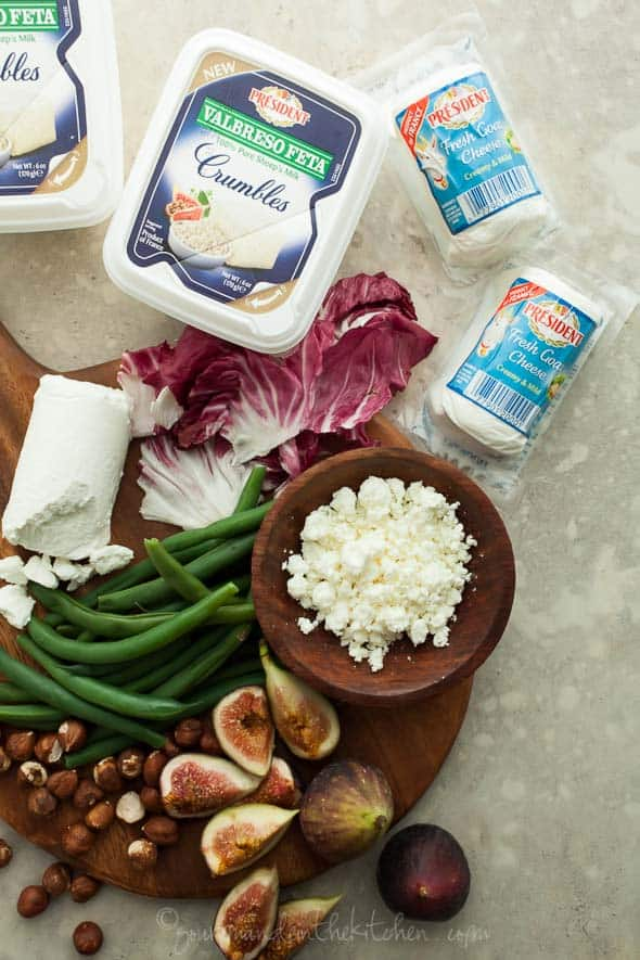 green bean salad, fig and green bean salad, fig, radicchio and green bean salad