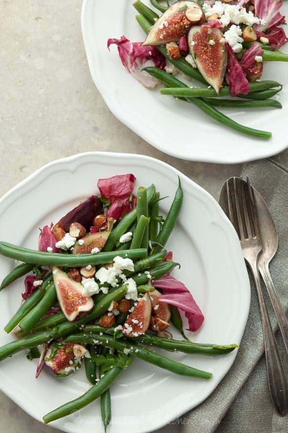 Fig, Green Bean and Radicchio Salad with Hazelnuts