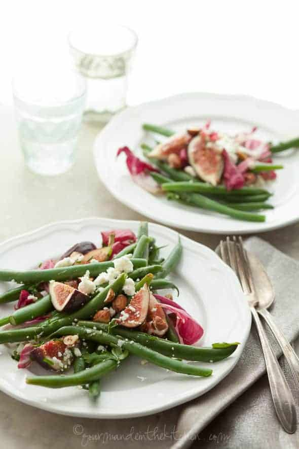 green bean salad, fig and green bean salad, fig, radicchio and green bean salad