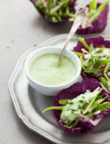Snap Pea Slaw Cups with Avocado Chive Cream
