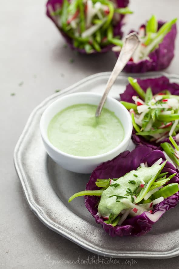 snap pea slaw, radish slaw, cabbage cups, raw cabbage cups, avocado cream, avocado crema, vegan cabbage cups, raw cabbage cups, chive cream