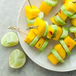mango skewers, cucumber skewers, salad skewers, summer appetizer