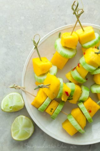 Spicy Mango Cucumber Salad Skewers