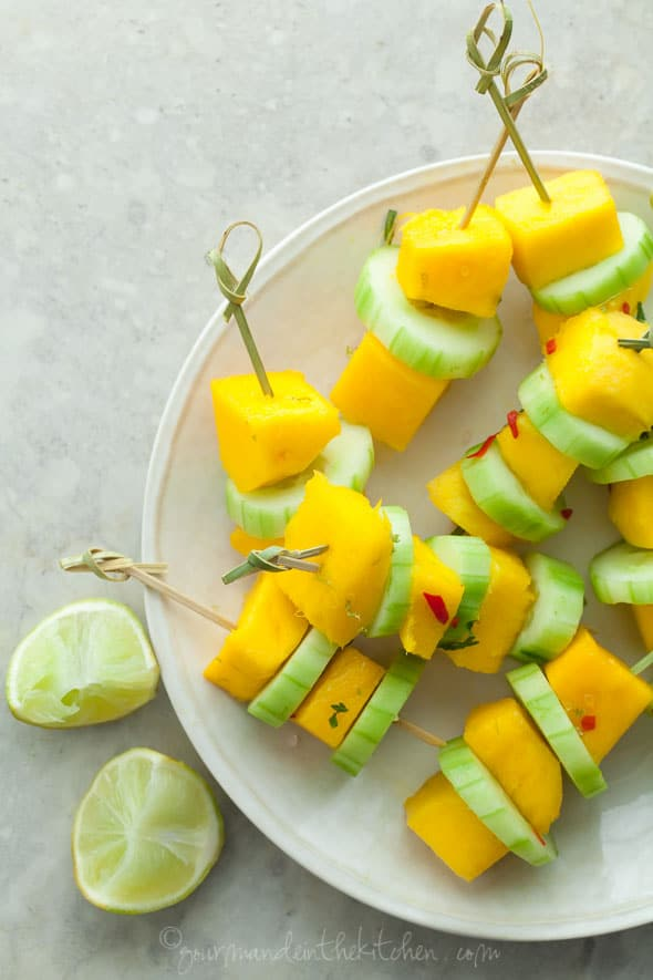 spicy mango, mango skewers, cucumber skewers, salad skewers, summer appetizer
