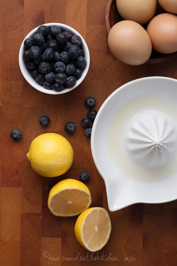 lemons, blueberries, eggs, omelet ingredients