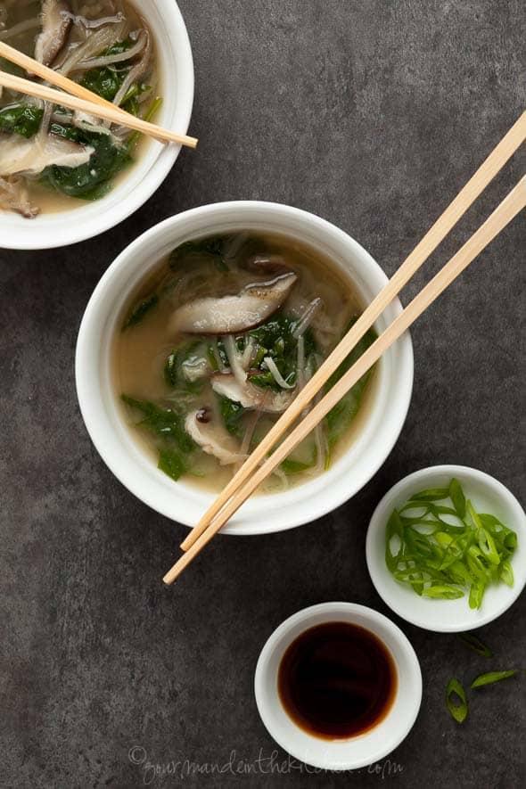 vegetable noodles, miso soup, vegan miso soup, spinach miso soup, eggplant noodles