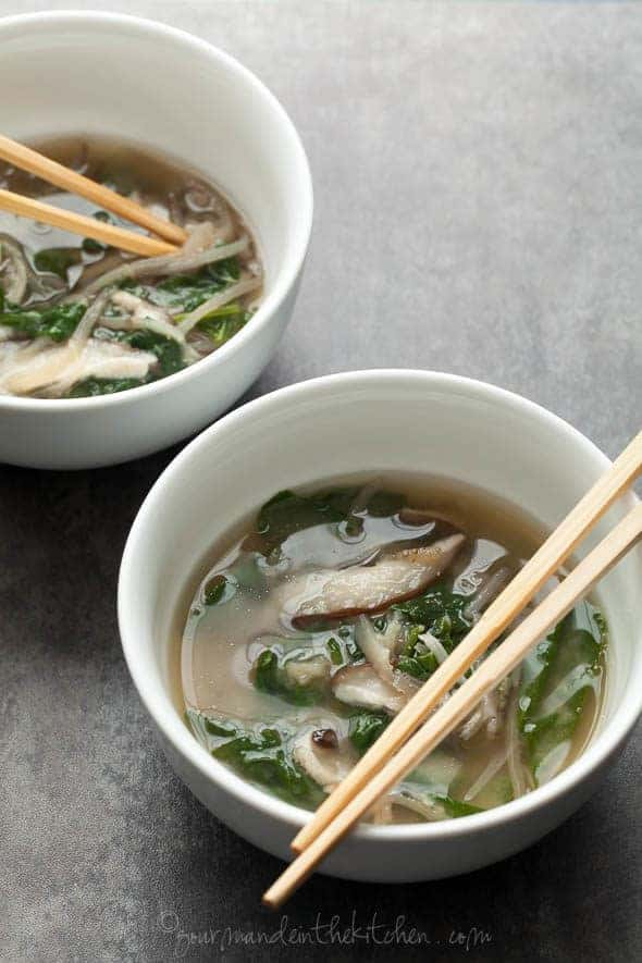 Spinach and Eggplant Noodle Miso Soup in Bowls with Chopsticks