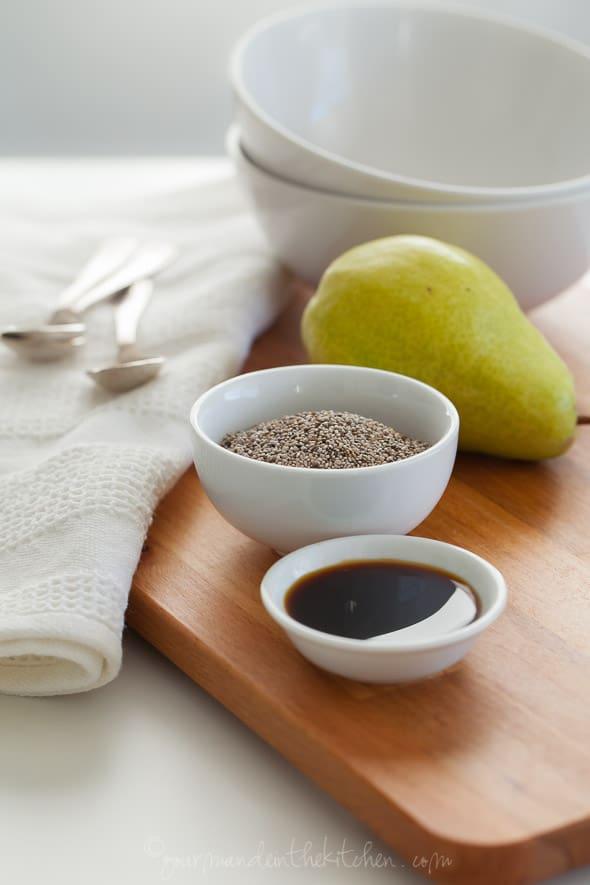 chia seeds, pear, coconut nectar, bowls, spoons, breakfast, paleo breakfast, vegan breakfast