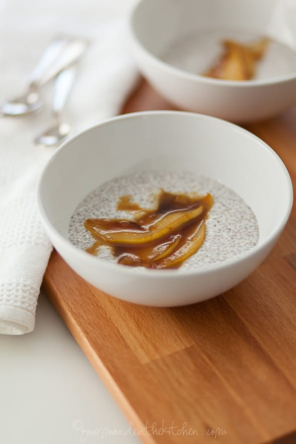 chia porridge, chis pudding, sauteed pears, caramel pears, paleo porridge