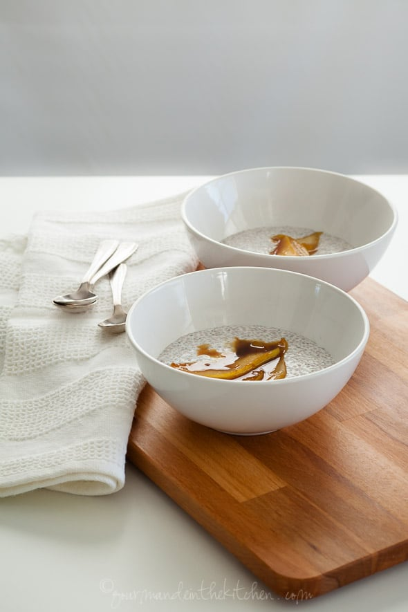 chia porridge, chis pudding, sauteed pears, caramel pears