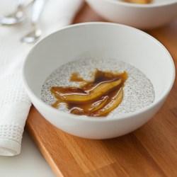 chia porridge, chia pudding, sauteed pears, caramel pears, paleo porridge, vegan breakfastt