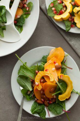 Delicata Squash Salad with Persimmons and Pomegranate Dijon Vinaigrette