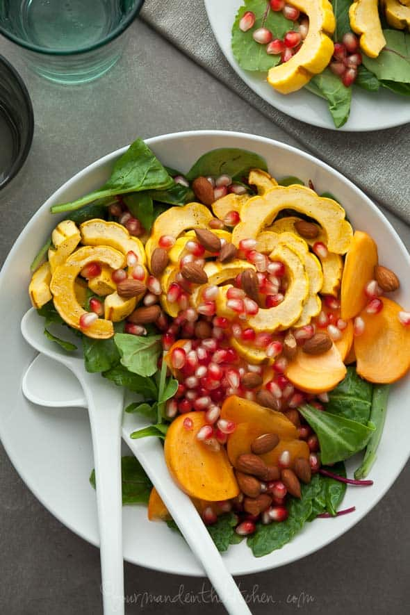 squash salad, delicata squash salad, persimmon salad, pomegranate salad, pomegranate dressing, vegan side dish, holiday salad