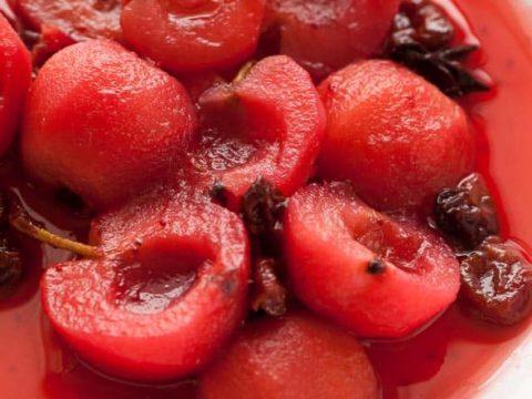 Cinnamon Cranberry Poached Apples