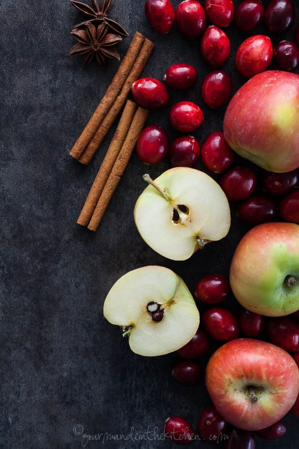 crimson miniature apples, cranberries, cinnamon sticks, star anise