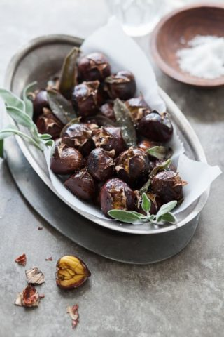 Roasted Chestnuts with Sage Browned Butter