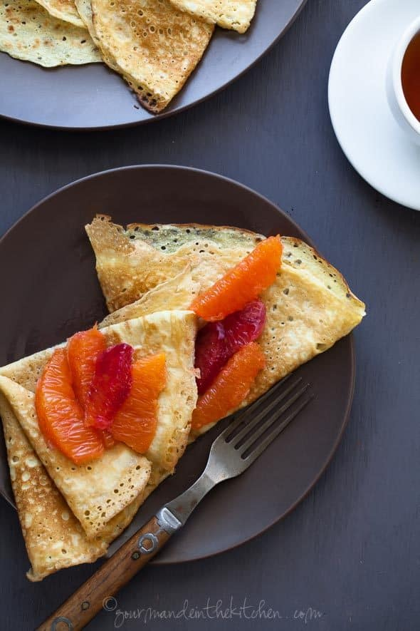 Grain-Free Crêpes with Honey Citrus Compote on Plate with Fork