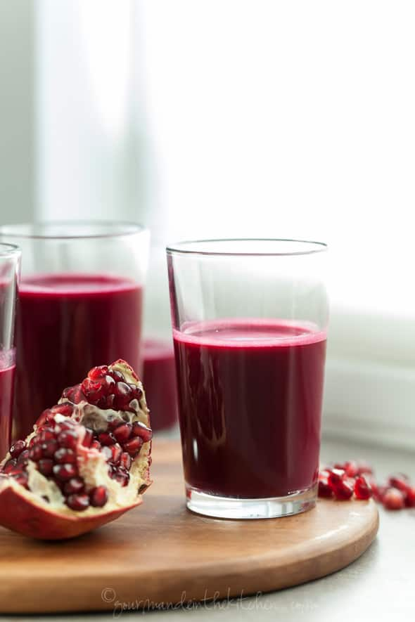 Pomegranate, Beet and Red Cabbage Juice in Small Glass