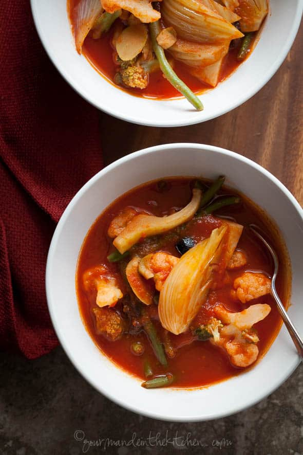 Quick Spicy Tomato Vegetable Soup in Bowls on Napkin