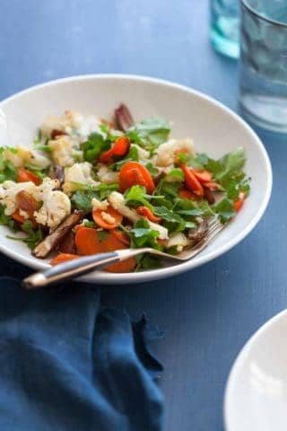 Warm Cauliflower Carrot Salad with Citrus Miso Dressing